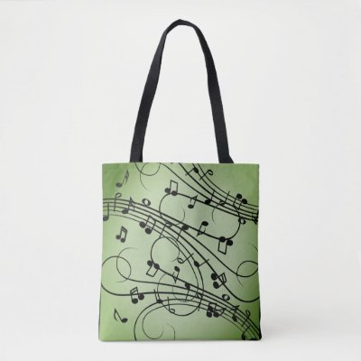 Fancy Notes Green Music Design Tote Bag