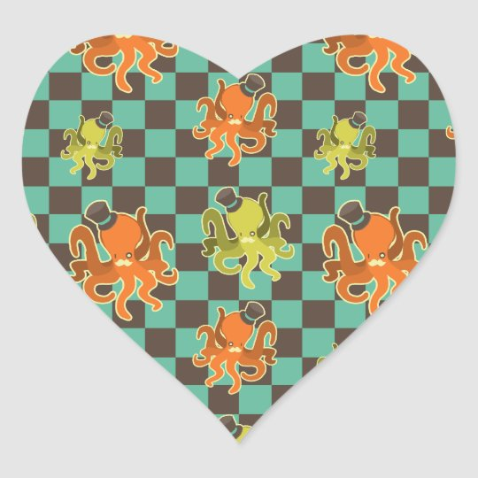 Fancy Octopus Checkered Pattern Heart Sticker