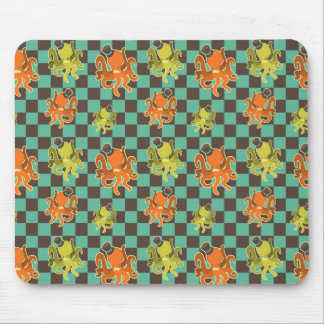 Fancy Octopus Checkered Pattern Mouse Pad