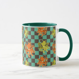 Fancy Octopus Checkered Pattern Mug