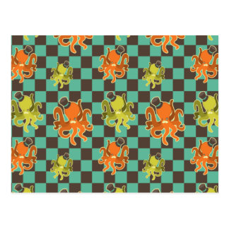 Fancy Octopus Checkered Pattern Post Card