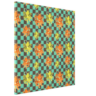 Fancy Octopus Checkered Pattern Stretched Canvas P Stretched Canvas Print