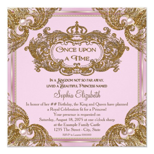 fancy once upon a time birthday party card. Black Bedroom Furniture Sets. Home Design Ideas