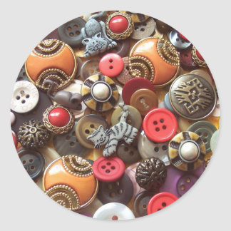 Fancy Orange Buttons and Kitty Buttons Classic Round Sticker