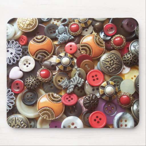 Fancy Orange Buttons and Kitty Buttons Mouse Pad