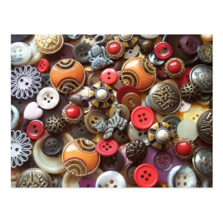 Fancy Orange Buttons and Kitty Buttons Postcard