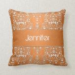 Fancy Orange Floral Damask Pillow