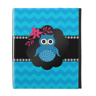 Fancy owl blue chevrons iPad folio case