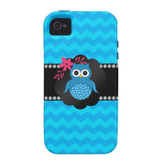 Fancy owl blue chevrons Case-Mate iPhone 4 covers