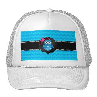 Fancy owl blue chevrons trucker hat
