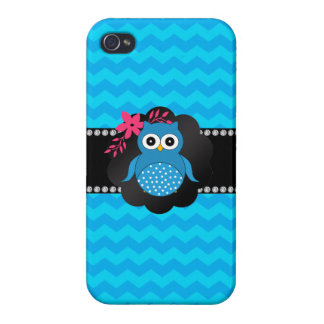 Fancy owl blue chevrons iPhone 4 covers