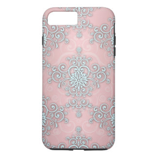 Fancy Pale Pink Girly Lacy Style  Damask Pattern iPhone 7 Plus Case