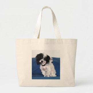 Fancy Parti Toy Poodle Portrait Large Tote Bag