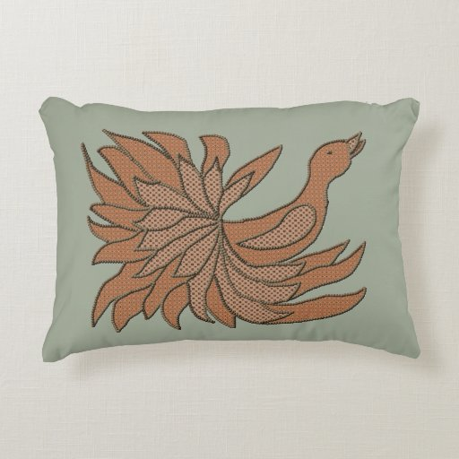 Fancy Patchwork Bird Decorative Pillow Zazzle