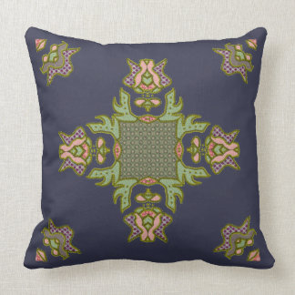 Fancy Patchwork Motif With Faux Beadwork Throw Pillow