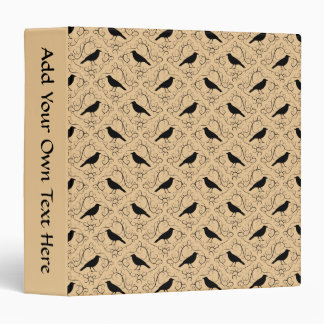 Fancy Pattern with Crows. Black and Beige. 3 Ring Binder
