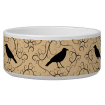 Fancy Pattern with Crows. Black and Beige. Bowl