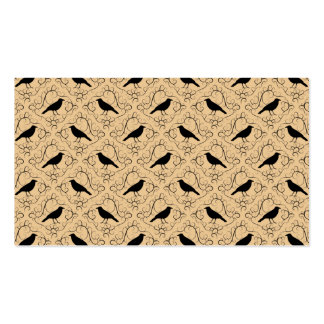 Fancy Pattern with Crows. Black and Beige. Business Card