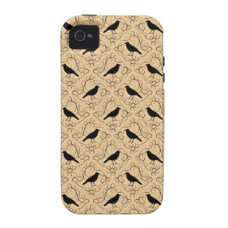 Fancy Pattern with Crows. Black and Beige. Vibe iPhone 4 Cases