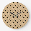 Fancy Pattern with Crows. Black and Beige. Round Wallclock