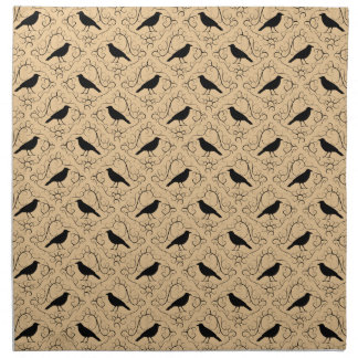 Fancy Pattern with Crows. Black and Beige. Cloth Napkin