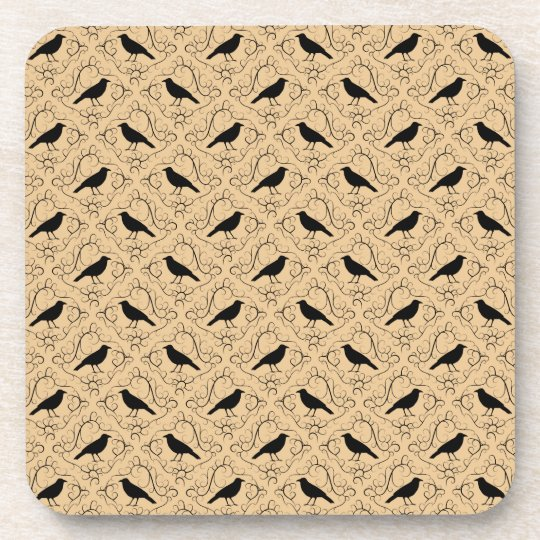 Fancy Pattern with Crows. Black and Beige. Coaster