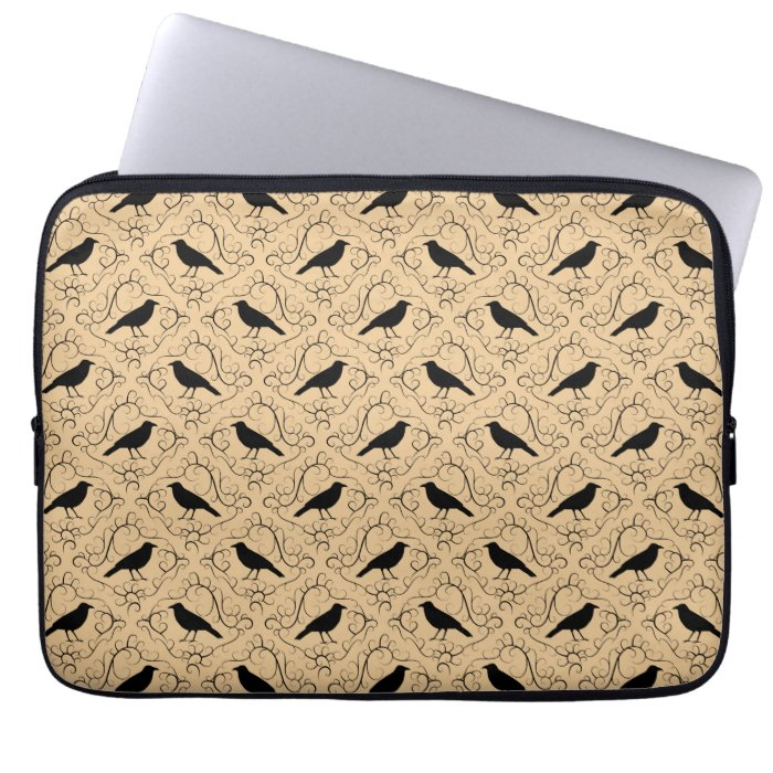 Fancy Pattern with Crows. Black and Beige. Laptop Computer Sleeve