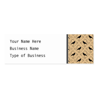 Fancy Pattern with Crows. Black and Beige. Mini Business Card