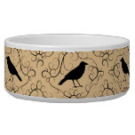 Fancy Pattern with Crows. Black and Beige. Pet Food Bowls