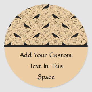Fancy Pattern with Crows. Black and Beige. Round Stickers