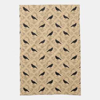 Fancy Pattern with Crows. Black and Beige. Towel