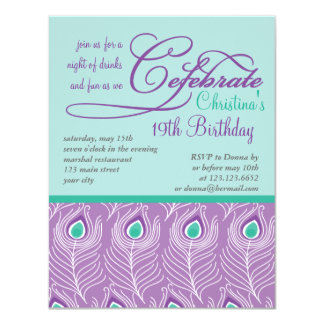 Fancy Peacock Feathers Birthday Party Celebration Card