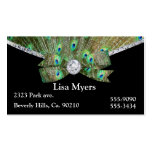 Fancy Peacock Plume & Diamonds Double-Sided Standard Business Cards (Pack Of 100)