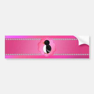 Fancy penguin pink car bumper sticker