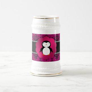 Fancy penguin pink damask 18 oz beer stein
