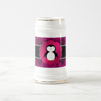 Fancy penguin pink damask beer stein