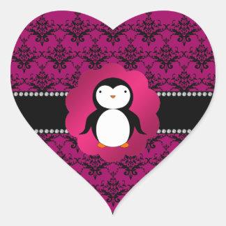 Fancy penguin pink damask heart sticker
