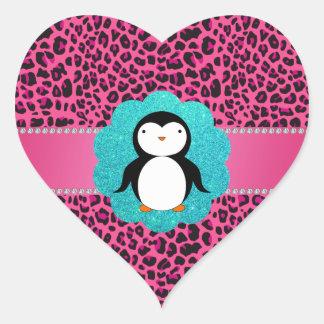 Fancy penguin pink leopard pattern heart sticker