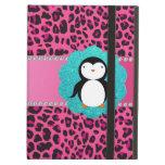 Fancy penguin pink leopard pattern iPad covers