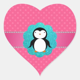 Fancy penguin pink polka dots heart sticker