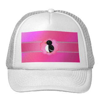 Fancy penguin pink trucker hat
