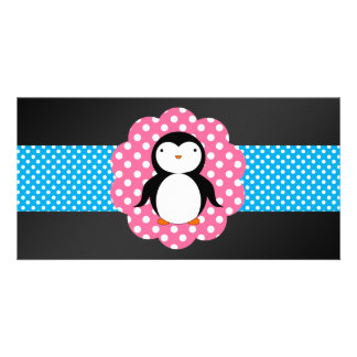 Fancy penguin polka dots personalized photo card