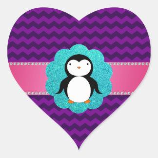 Fancy penguin purple chevrons heart sticker