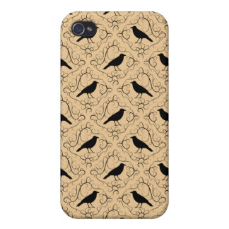 Fancy Pern with Crows. Black and Beige. iPhone 4 Case