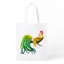 Fancy Phoenix Long Tailed Rooster Grocery Bag