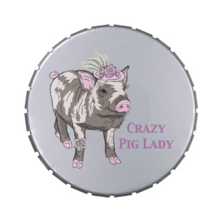 Fancy Pig Lady Jelly Belly Candy Tin
