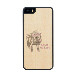 Fancy Pig Lady Wood Phone Case For iPhone SE/5/5s
