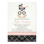 Fancy Pink and Black Damask Carriage Baby Shower 5x7 Paper Invitation Card