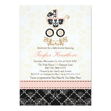 Toddler & Baby themed Fancy Pink and Black Damask Carriage Baby Shower Card