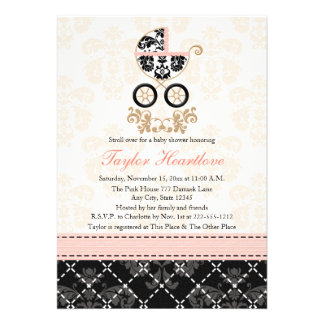 Fancy Pink and Black Damask Carriage Baby Shower Card